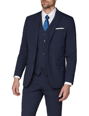 ea955fd52ea828 Stvdio by Jeff Banks Navy Check Performance Tailored Fit Suit