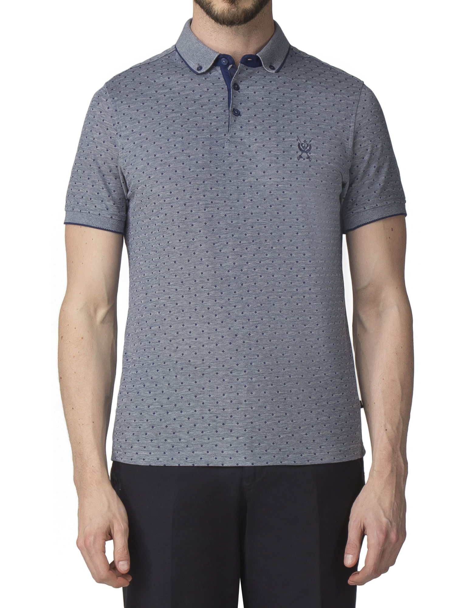 e4b01f5f91 Men's Blue Diamond Jacquard Polo Shirt   Jeff Banks