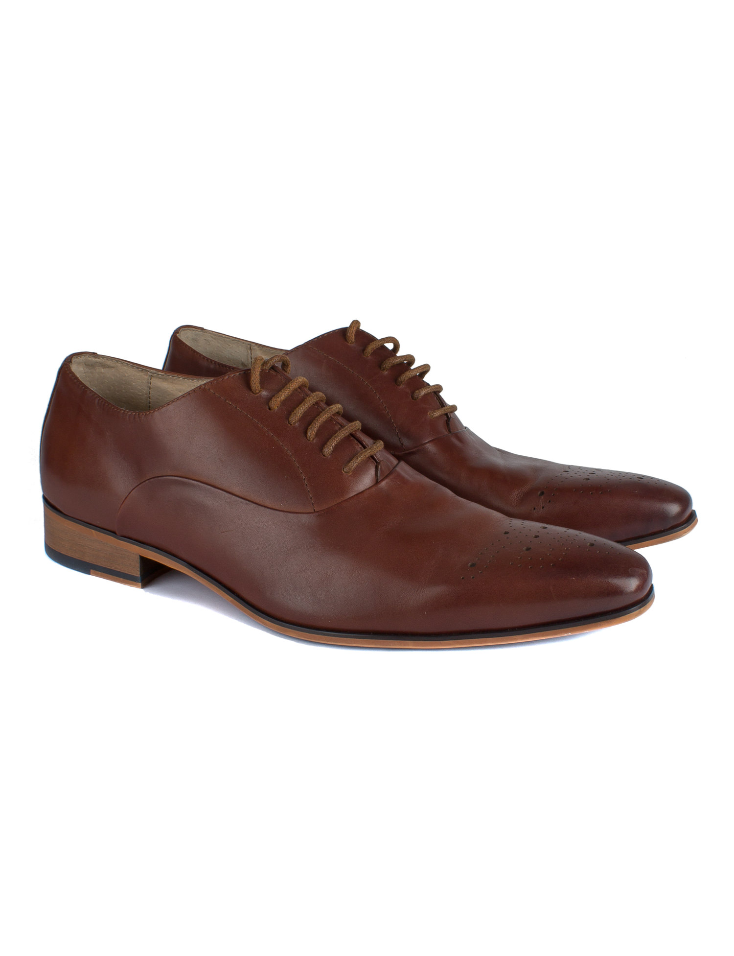 Men's Brown Punched 100% Leather Shoes