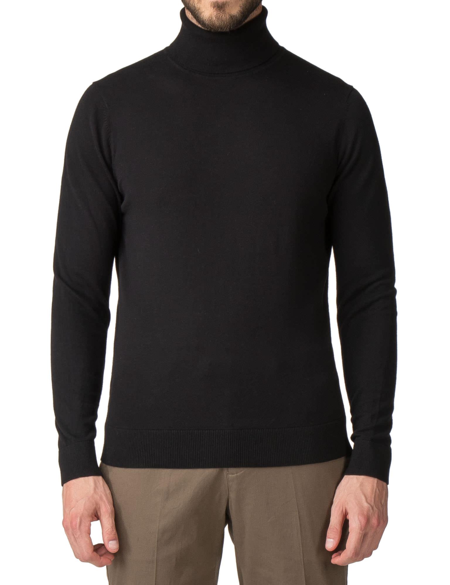 shop for newest suitable for men/women shop for genuine Jeff Banks BLACK COTTON ROLL NECK JUMPER- currently ...