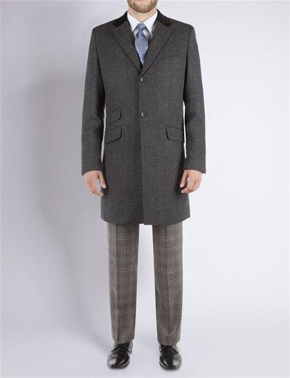Stvdio by Jeff Banks Grey wool blend herringbone overcoat